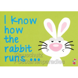 I know how the rabbit runs - Postkarte von den MainSpatzen - Lustige Denglisch Postkarten