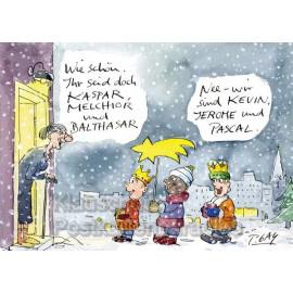 Kevin, Jerome und Pascal | Lustige Peter Gaymann Weihnachtskarte Postkarte