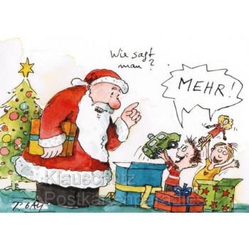 Peter Gaymann Weihnachtskarte mit Weihnachtsmann Wie sagt man? MEHR!