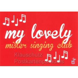 My lovely mister singing club - Englischsprachige Postkarte - Postkarte von den MainSpatzen - Lustige Denglisch Karten