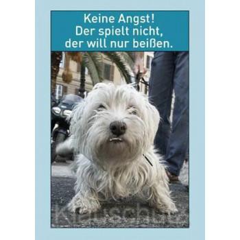 Hunde Postkarte vom Postkartenparadies: Keine Angst! Der spielt nicht, der will nur beißen.
