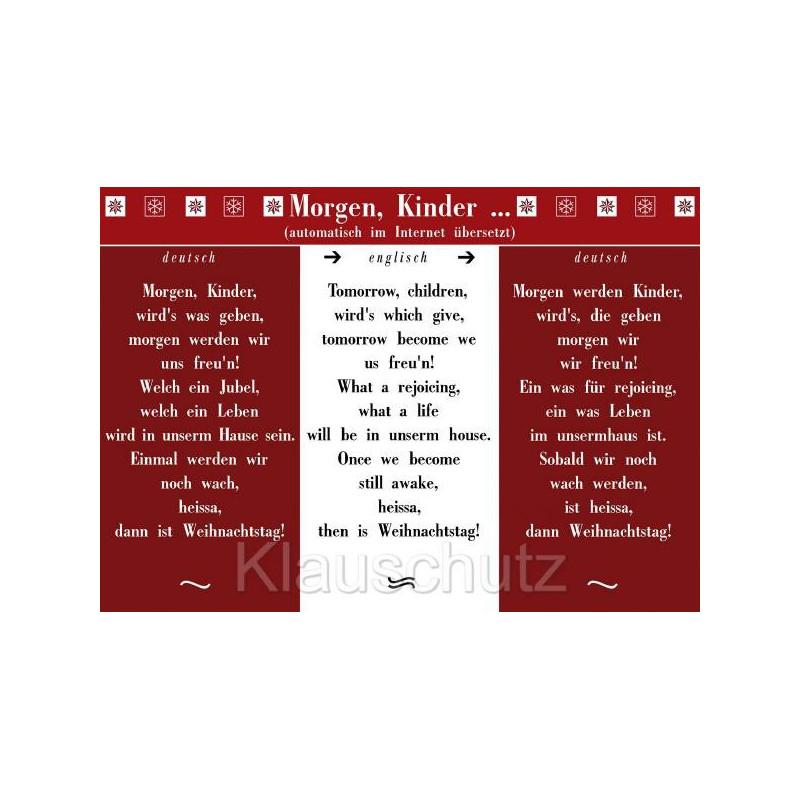 Postkarte Weihnachten / Weihnachtskarten | Morgen, Kinder, wird's was geben, morgen werden wir uns freu'n - automatische Google