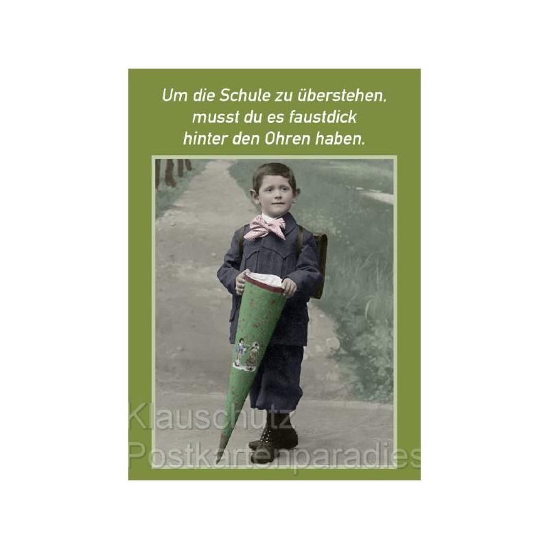 Postkarte Sprüche | faustdick hinter den Ohren