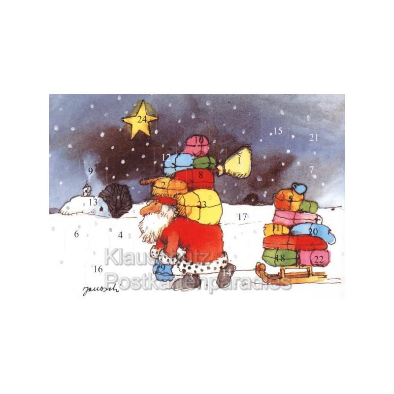 Janosch Adventskalender im Postkartenformat mit dem Weihnachtsmann