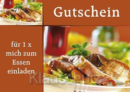 Postkarte   Gutschein Essen, Einladungs