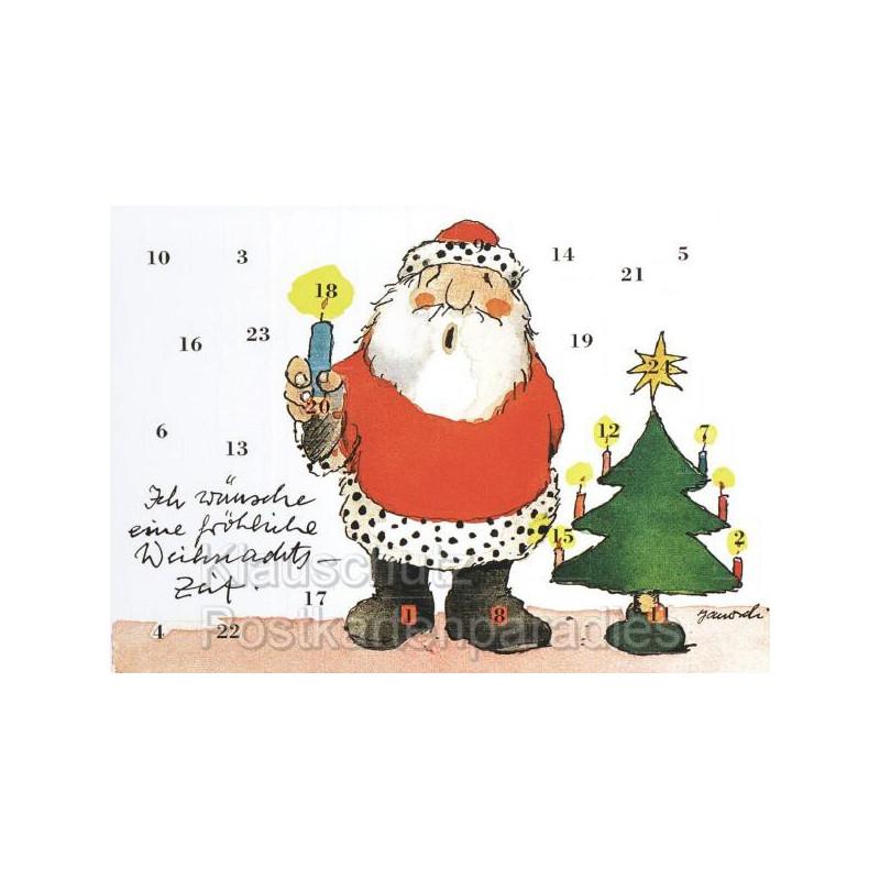 Janosch Postkarten Adventskalender mit dem Weihnachtsmann