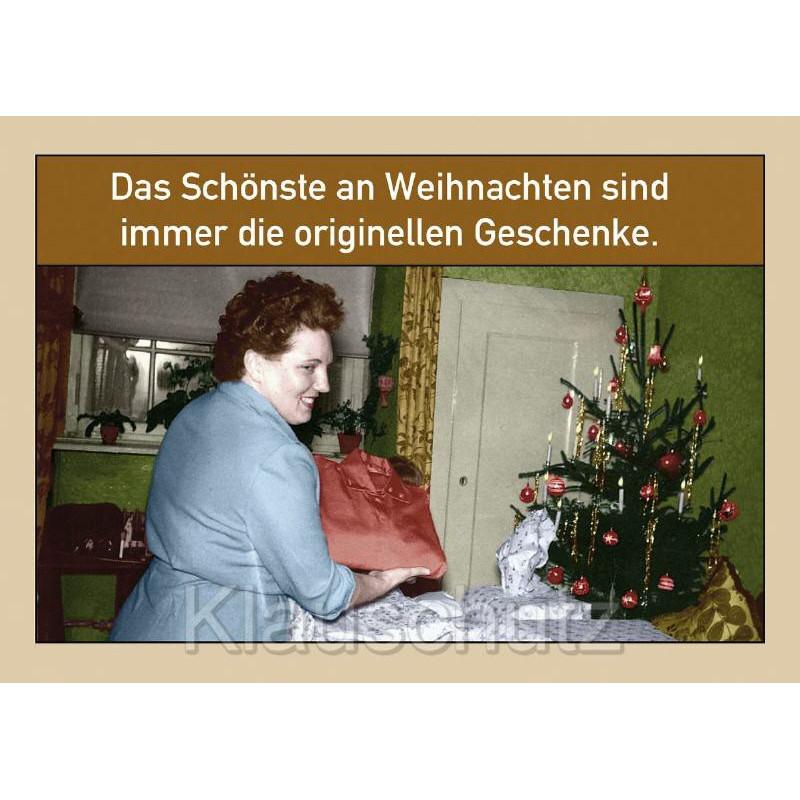 Postkarte Weihnachtskarte: Das Schönste an Weihnachten sind immer die originellen Geschenke.