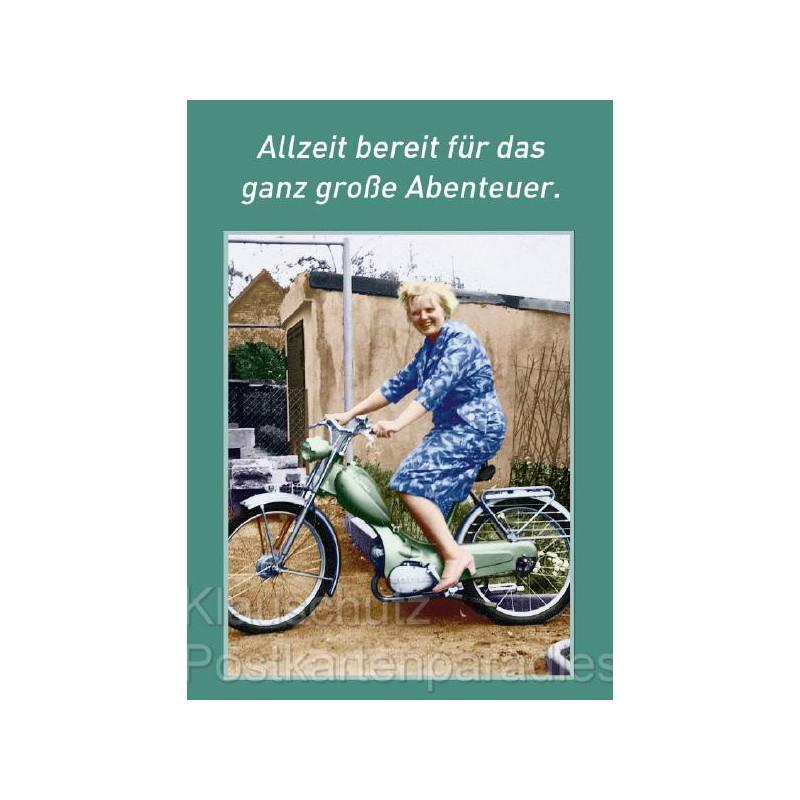 Postkarten Fotosprüche - Allzeit bereit für das ganz große Abenteuer.
