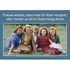 Frauen wollten, dass man ihr Alter vergisst, aber immer an ihren Geburtstag denkt. Geburtstagskarten Postkarten