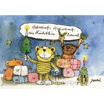Janosch Adventskalender als Doppelkarte mit Bär und Tiger