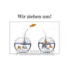 Postkarten Umzug mit Fischen -  Wir ziehen um!