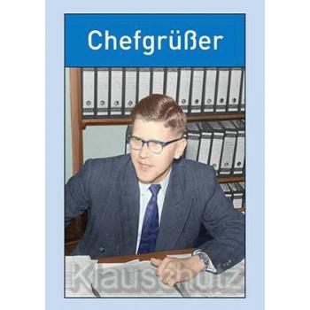 Lustige Postkarte mit altem Foto - Chefgrüßer