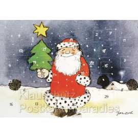 Janosch Adventskalender Doppelkarte - Weihnachtsmann im Schnee