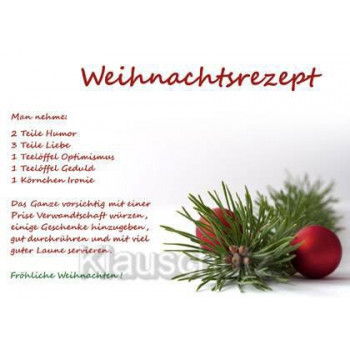 Weihnachtsrezept - Man nehme: 2 Teile Humor, 3 Teile Liebe, 1 Teelöffel Optimismus ... Postkarte Weihnachten