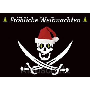 Postkarte Weihnachtskarten | Fröhliche Weihnachten Piraten Totenkopf