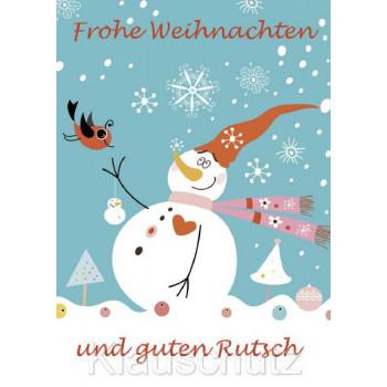 Frohe Weihnachten und guten Rutsch. Schneemann mit Vogel Comic Postkarte