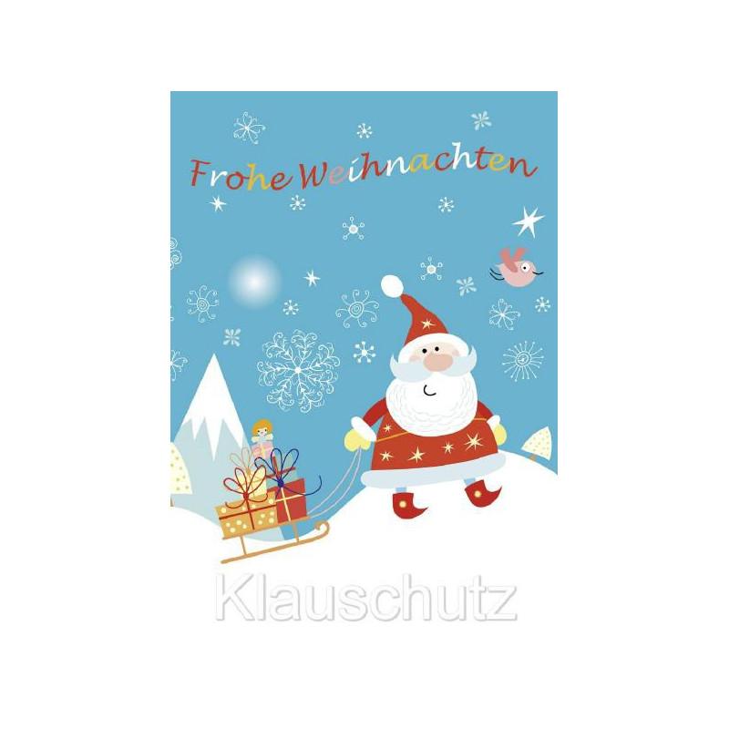 Postkarte Frohe Weihnachten - Weihnachtsmann mit Schlitten voller Geschenke