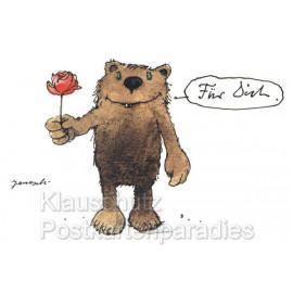 Janosch Bär mit Blume - Postkarte