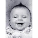 s/w Fotokarte Postkarte - Lachendes Baby / Kleinkind mit Humor