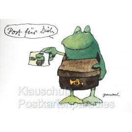 Janosch Postkarten - Briefträger Frosch 'Post für Dich'
