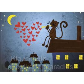 Postkartenparadies Grafik Postkarte: Katze sitzt bei Mondschein auf Hausdach