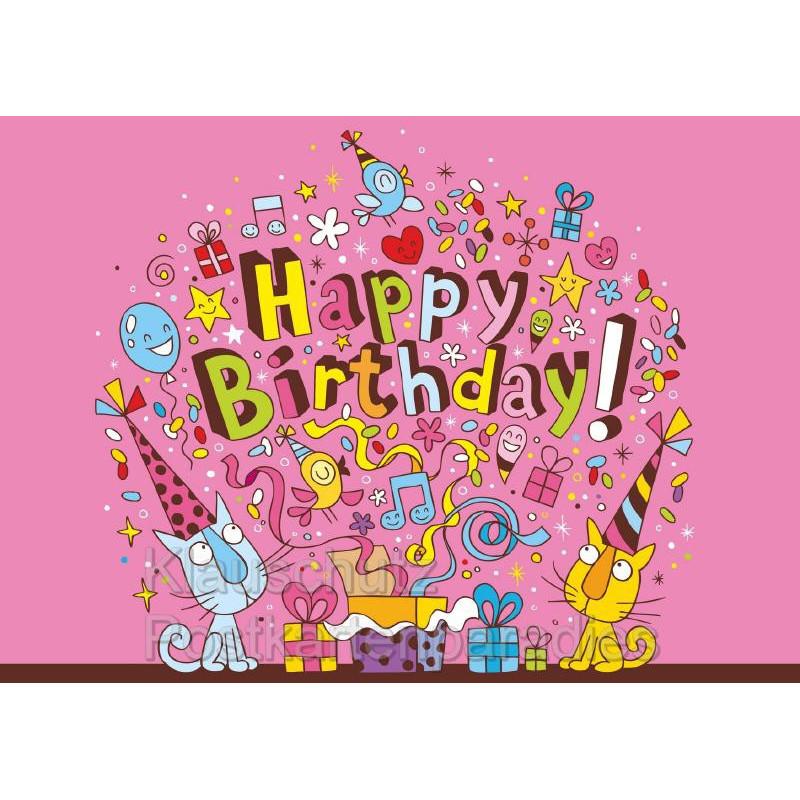 Happy Birthday Geburtstagskarte Mit Katzen