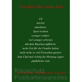 Weihnachtskarte Postkarte vom Postkartenparadies - Vorsätze fürs neue Jahr