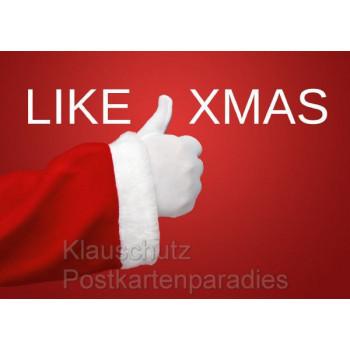 Like Xmas - Daumen vom Weihnachtsmann | Postkarte rot Weihnachtskarte