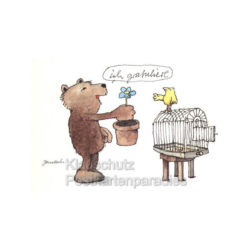 Janosch Geburtstagskarte mit Bär - Ich grauliere zum Geburtstag