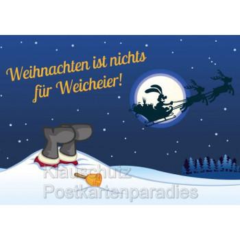 Weihnachtskarte Comic Postkarte: Weihnachten ist nichts für Weicheier