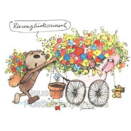 Postkarte Janosch - Riesenglückwunsch Bär Geburtstagskarte