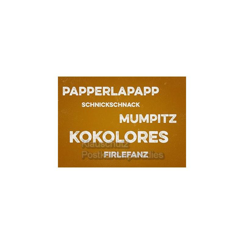 Postkarten im Retrostyle / Retrokarten | Papperlapapp, Schnickschnack, Mumpitz, Kokolores, Firlefanz