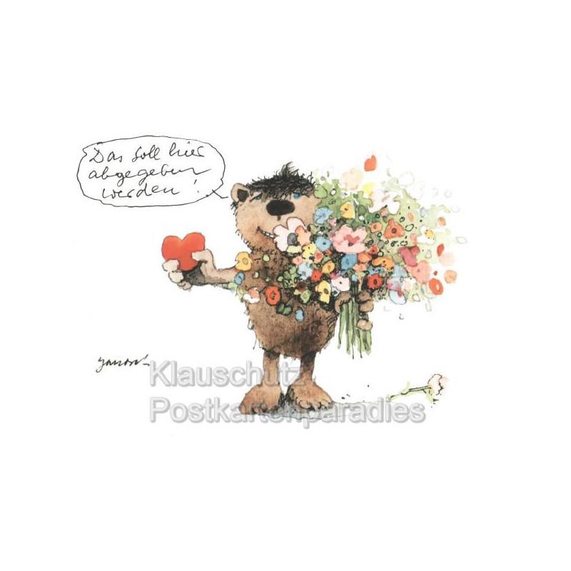 Janosch Postkarten - Bär mit Blumen und Herz