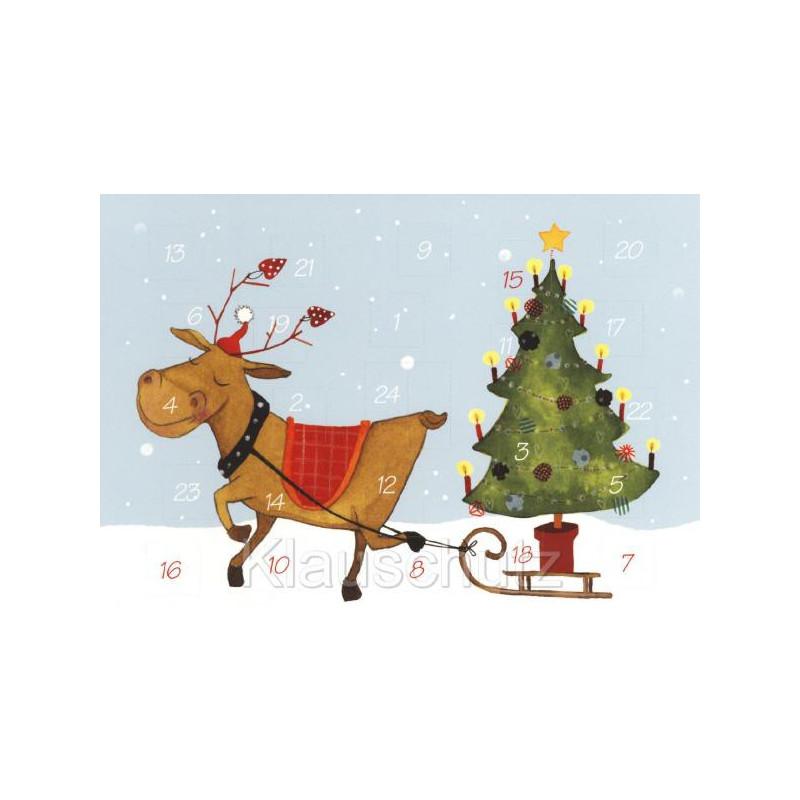 Weihnachtskarte Advent - Rentier