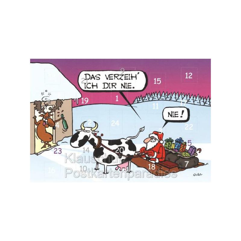 Lustige Adventskalender Klappkarte: Das verzeih ich dir nie. NIE!