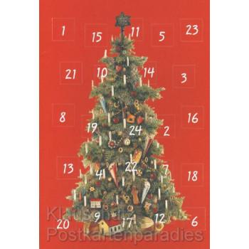 Adventskalender Doppelkarte mit der Geschichte des Weihnachtsbaums
