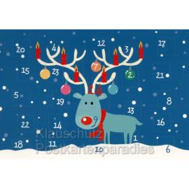 Mit dem rotnasigen Rentier durch die Vorweihnachtszeit - Kalender Adventskalender - mit aufgeklappten Türchen.