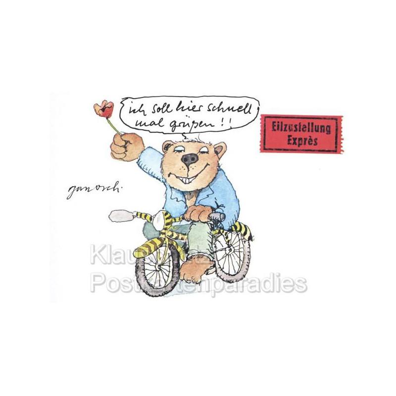 Janosch Postkarten | Eilzustellung mit Bär auf Tigerfahrrad