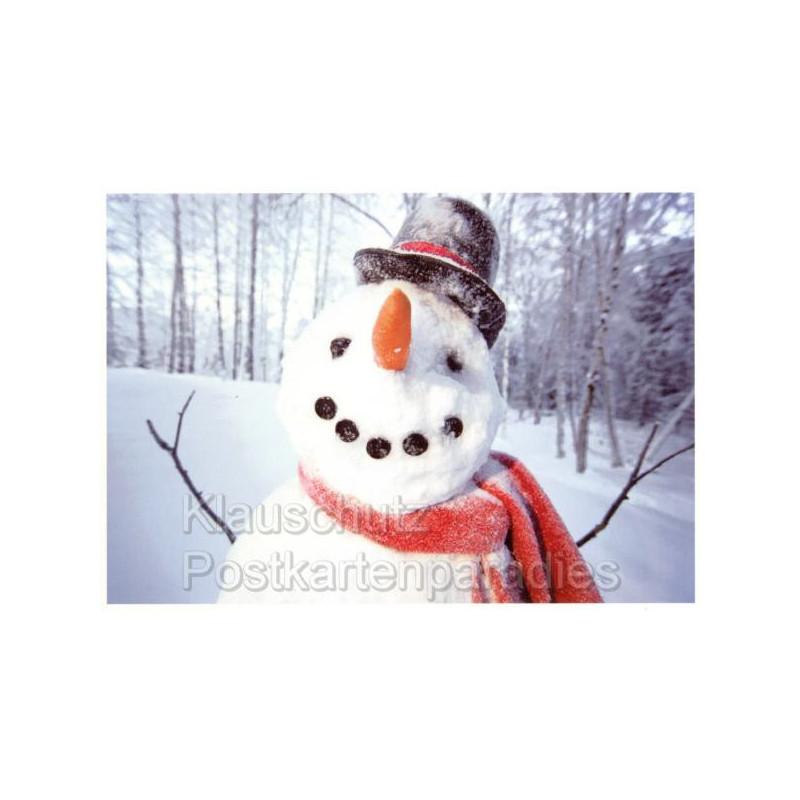 Lustige Weihnachtspostkarte mit glücklichem Schneemann - Postkarten von Rannenberg