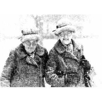 Lustige s/w Fotokarte mit Charakterfrauen | Rannenberg Postkarten