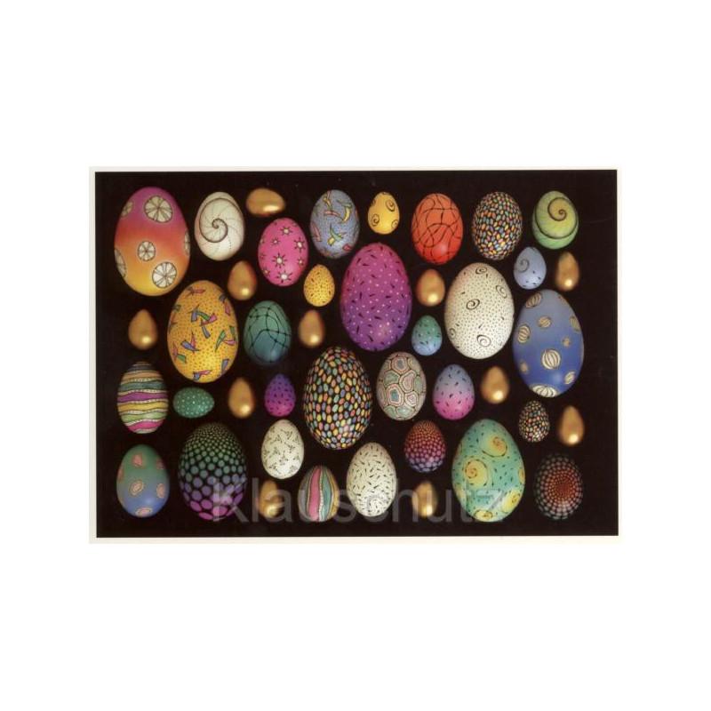 Osterpostkarte - Postkarte Bemalte Ostereier auf schwarzem Grund