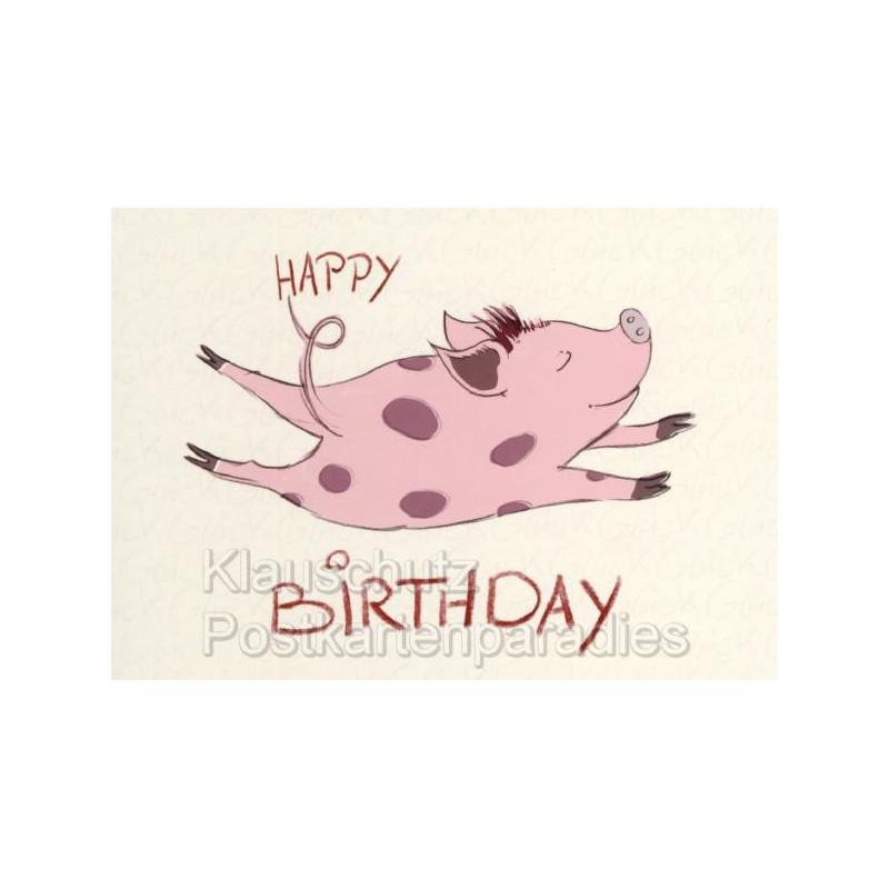Postkarte: Happy Birthday Schweinchen von Judith Ganter