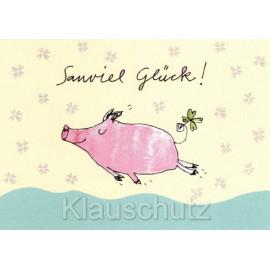 Postkarte Schwein / Glücksschwein - Sauviel Glück!