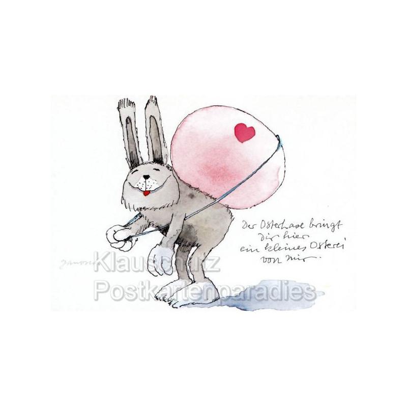 Janosch Postkarte Ostern mit einem lustigen Osterhasen