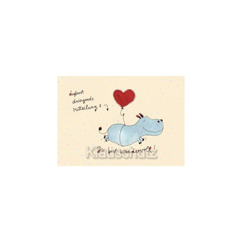 Postkarte - Äußerst dringliche Mitteilung: Du bist wundervoll