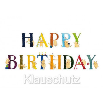 Happy Birthday Glücksschweine / Schweine - Geburtstagskarte und Postkarte