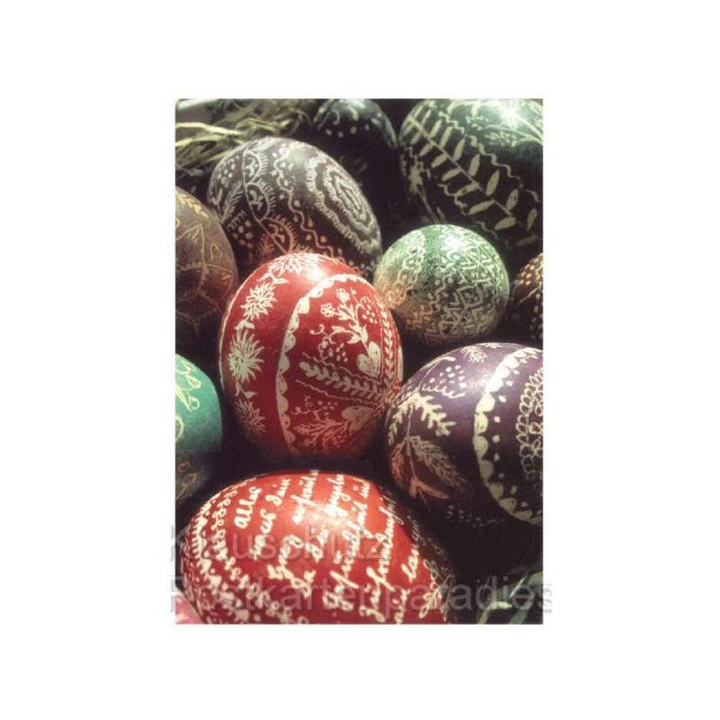 Osterpostkarte - Bunte Kratzeier zu Ostern