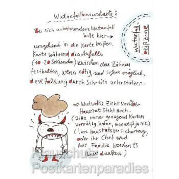 Wutanfallbonuskarte von karindrawings - Lustige Comic Postkarte von Rannenberg