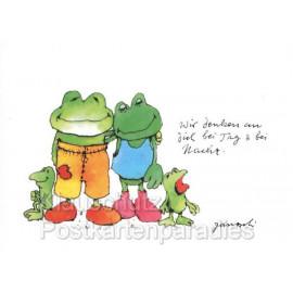 Janosch Postkarte mit Fröschen| Wir denken an dich