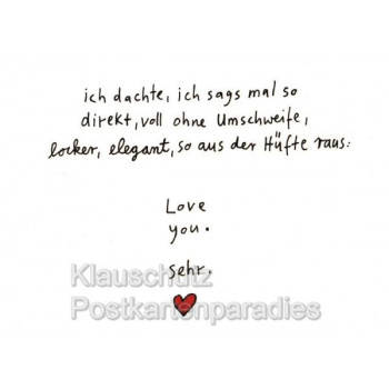 Love You. Sehr. Comic Postkarte von Rannenberg